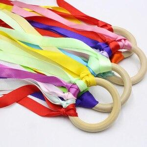 5 шт. Радужная цветная лента деревянная кольцевая лента Вальдорф с колокольчиком ручной кайт игрушка для дня рождения игрушка для детского ...