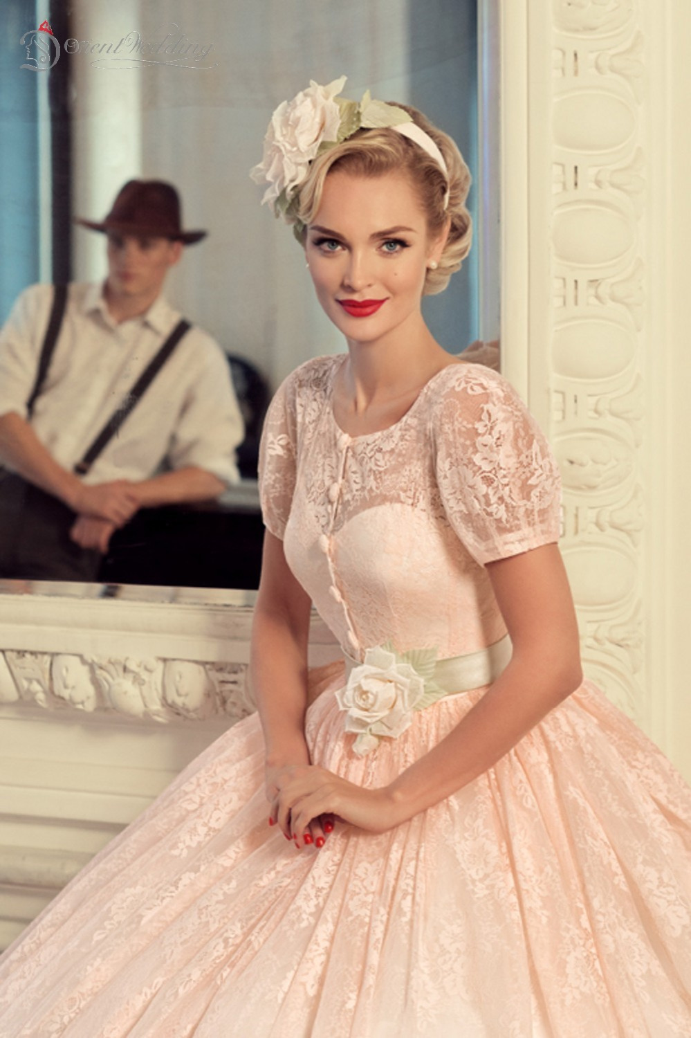 Blush Pink Wedding Dresses Vintage Dress 2017 Vestido De Novia Fotos Reales Peach With Short Sleeves In From