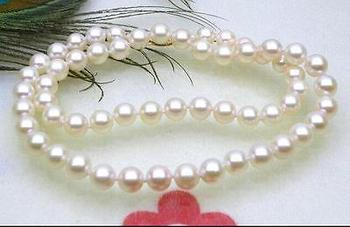 BEAUTIFUL AAA+ 6.5-7mm round white akoya pearls necklace>Selling jewerly free shipping