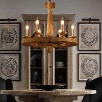 LOFT Vintage Wood Pendant Lamp Art Bar Cafe Lamp Creative Vintage Metal Living Room Pendant Light Dia 68cm