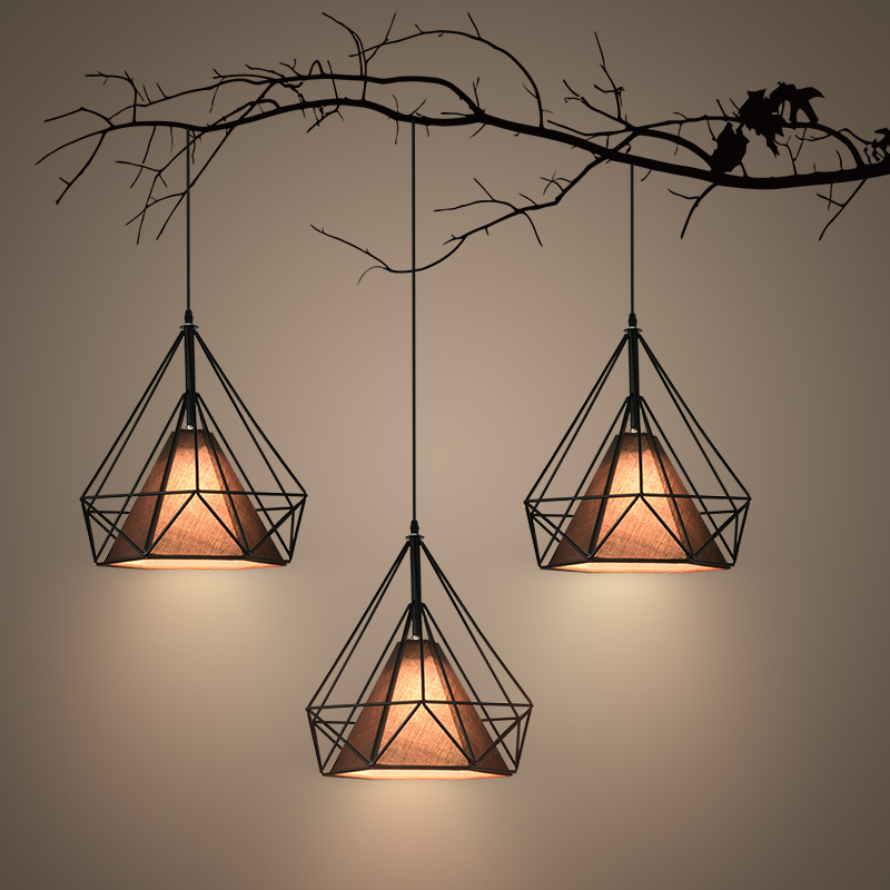 купить Nordic iron art diamond pyramid pendant light bar restaurant dining room droplight E27 по цене 3535.87 рублей
