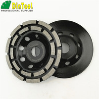 2pcs 5 Inches Diamond Double Row Grinding Cup Wheel 125MM Grinding Disc Arbor 22 23mm Concrete