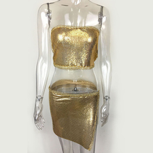 Summer Sexy Dress Shine Bling Metal Chain Halter Split Two Pieces Women Party Dresses Club Sexy 3 Colors Women Sets