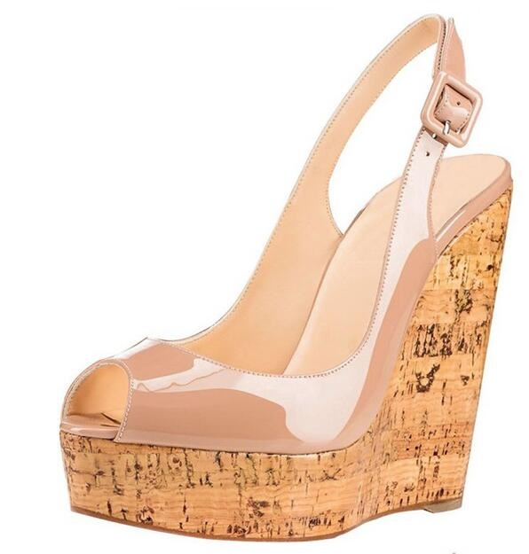 New Arrivals Wooden Heels Wedge Sandals Black Nude Patent Leather Slingback Summer Shoes Cut out High Platform Women Sandals in High Heels from Shoes