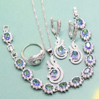 925 Sterling Silver Women 's Jewelry Sets Necklaces Earrings Ring Bracelet with Peacock Blue Synthesis Zircon Free Jewelry Box