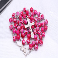 New 8mm crystal imitation pearl necklace with pink flowers and silver cross beads