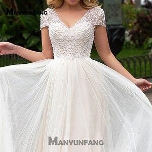 Image 5 - כובע שרוולים 2019 סקופ תחרת Applique קו פשוט חתונת שמלות טול Boho כלה שמלת vestido דה noiva ארוך רכבת trouwkleed