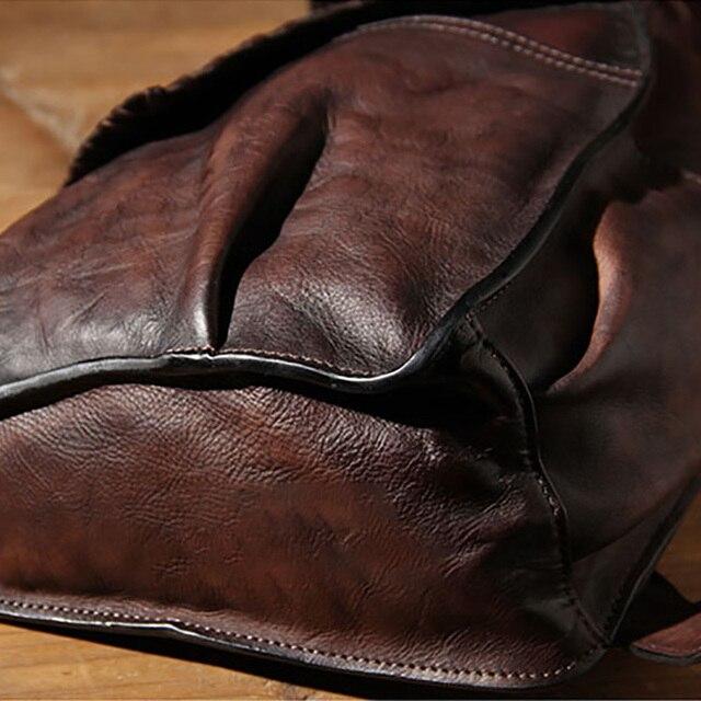 Bolsa de pecho de cuero para hombre AETOO, bolso retro de piel de vaca plantada
