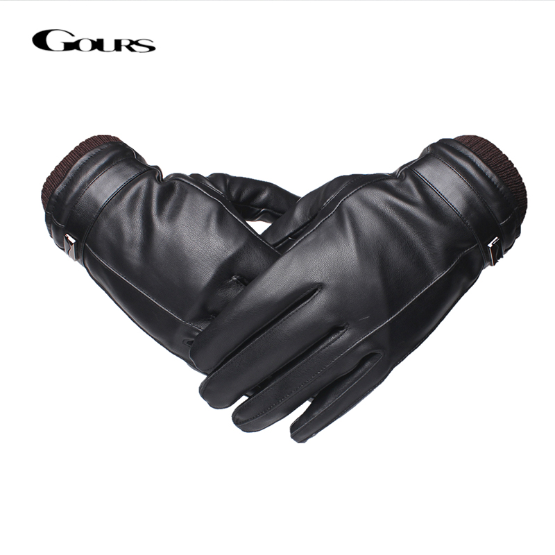 Gours Leather Gloves for Men Fashion Brand Male Black Touch Screen PU Leather Finger Gloves Warm In Winter New Arrival GSM041