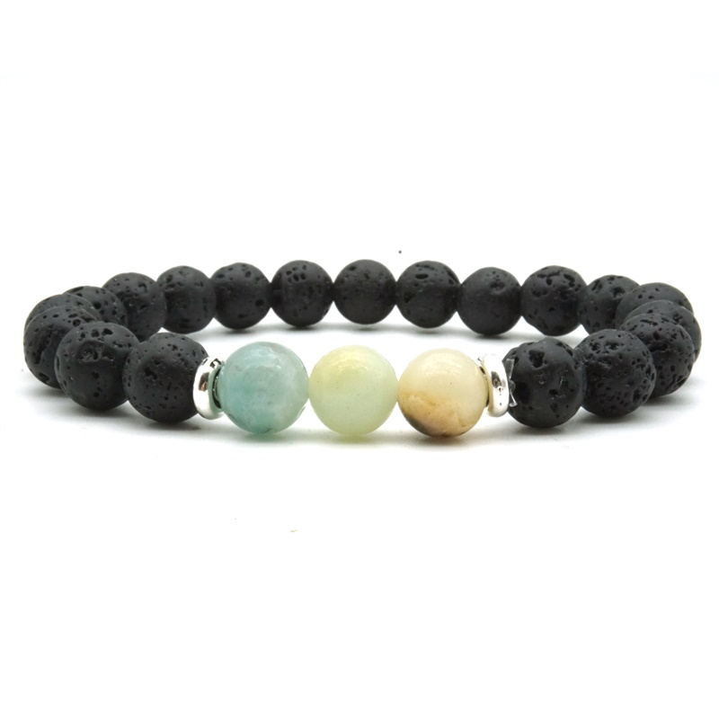 Vintage Gold Silver 8mm Amazonite Stone Black Volcanic Lava Stone Beads Essential Oil Diffuser Bracelets Men Women Jewelry