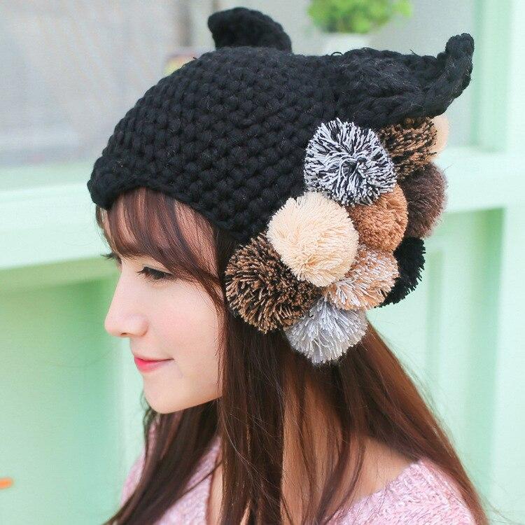BomHCS  Cute Autumn Winter Warm Black Handmade Knitting Cat Ear Hat Women Cap Devil Plush Balls Maleficent Horn Evil devil pattern elastic plush eyepatch black white