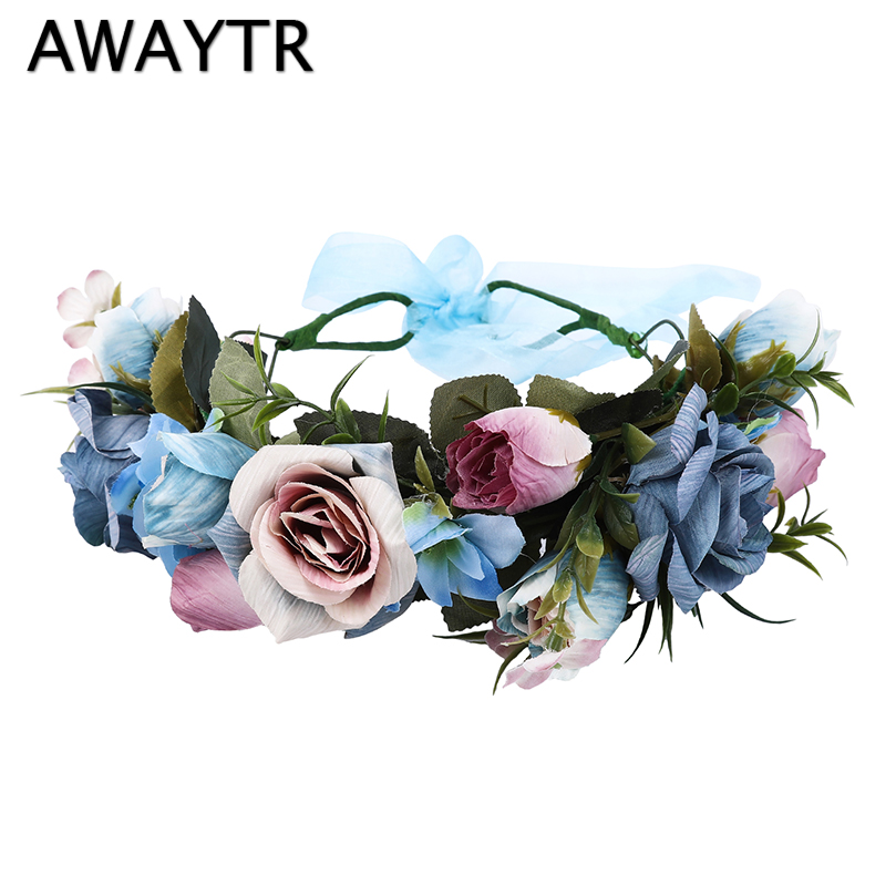 AWAYTR Bride Women Flower Crown Hair Band Floral Headband Garland Ribbon Bow Girl Flower Wreath Wedding Hair Accessories