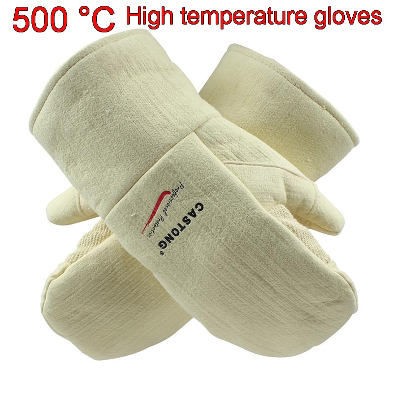 CASTONG 500 degree High temperature gloves Aramid Anti-scald safety gloves 2 fingers High temperature resistant gloves цена