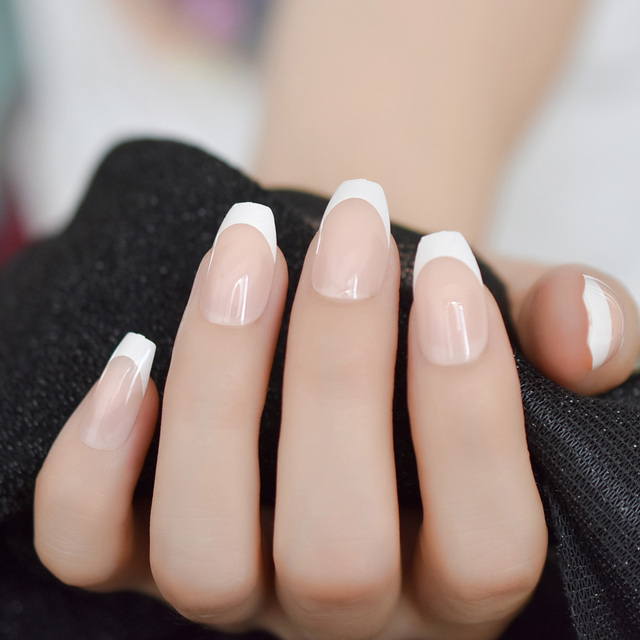Natrual White French Coffin False Fake Nails Press On Flat Ballerina Art Tips Daily
