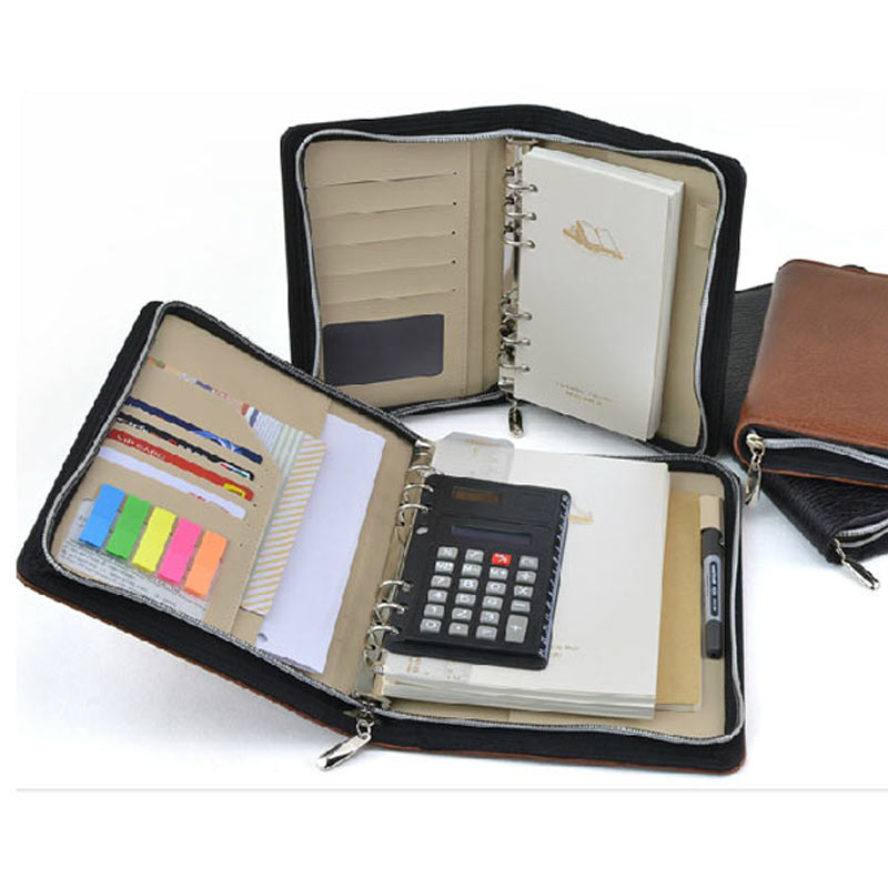 Image 2 - Logo Customized A5 & A6 Business Zip Bag Faux Leathe Planner Leather Notebook With Calculator Or Memo Pad For You To Choose-in Notebooks from Office & School Supplies