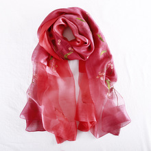 купить 2019 Luxury Embroidery Women Scarf High Quality Silk Scarves Shawl Wraps Elegant Soft Wool Scarf Winter Pashmina Bandana Foulard дешево