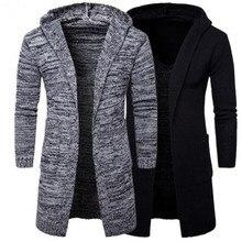 2018 Для мужчин тонкий пальто зимнее Для мужчин; куртка с длинными рукавами плащ Стильный кардиган вязаный теплый трикотаж куртки для мальчиков пальто