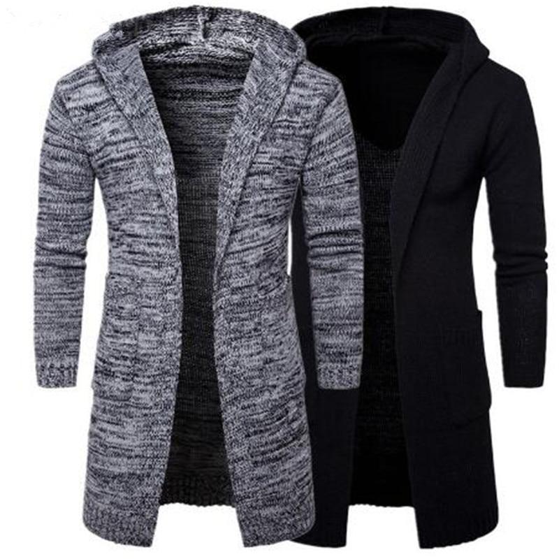 2018 Men Slim Coat Winter men's Long Sleeve Jacket   Trench   Stylish Cardigan knit Warm Knitwear Jackets for male Overcoat