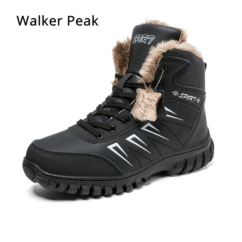 Mens Boots Winter With Fur 2019 Warm Ankle Snow Boots for Men Genuine leather Shoes Male