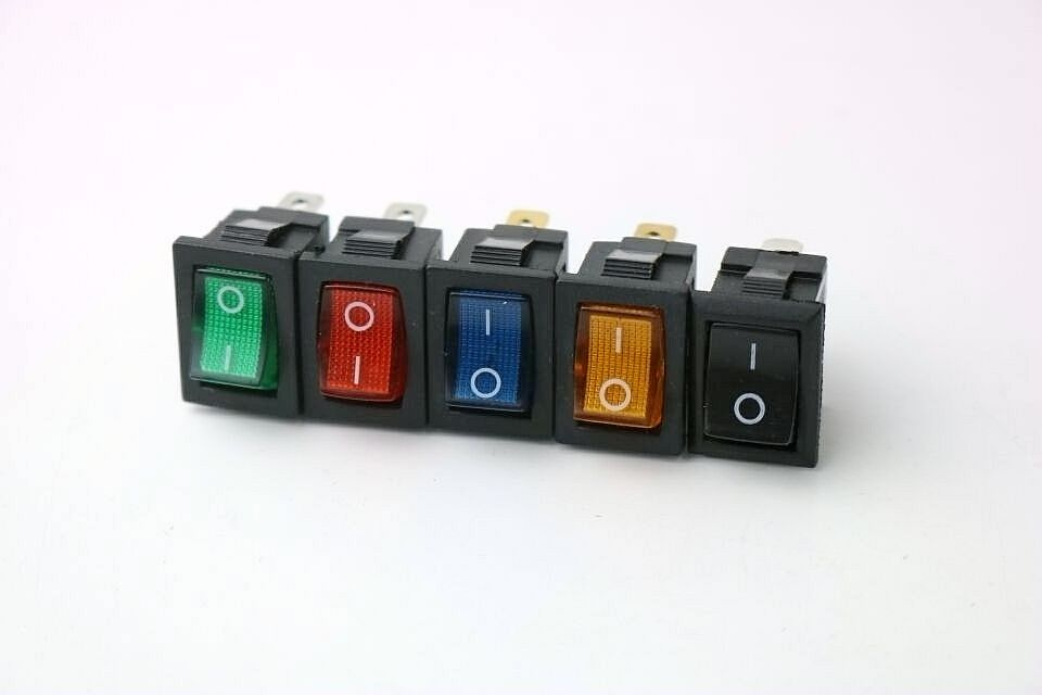 KCD1 On-Off 3Pin Boat Car Rocker Switch 6A/10A 250V/125V AC Red Yellow Green Blue Button Best Price 5pcs black push button mini switch 6a 10a 250v kcd1 101 2pin snap in on off rocker switch 21 15mm