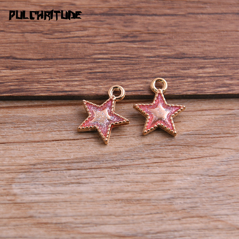 10pcs DIY Five-pointed Star Beads Charms Tibetan Silver Alloy Pendant Necklace