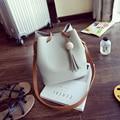 Women Shoulder Bags Vintage Drawstring Tassel Bucket Bag Hasp Casual Handbag Brief Messenger Bag bolsas luxo mulheres sacos de