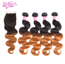 Queen Love Hair Pre-Colored Ombre Mongolian Human Hair Weave 4 Bundles Body Wave With Closure 1B/30 4×4 Free Part Lace Closure
