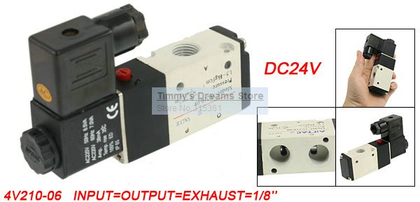 Free Shipping 1/8'' Ports 3V210-06 DC 24V 2 Positions 3 Ways Pneumatic Solenoid Valve