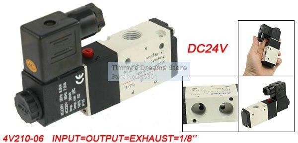 Free Shipping 1/8'' Ports 3V210-06 DC 24V 2 Positions 3 Ways Pneumatic Solenoid Valve
