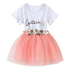 Baby Girls Clothes Set Kids Butterfly Sleeve Letter T-shirt+Floral Voile Dress for Clothing Gown Tutu