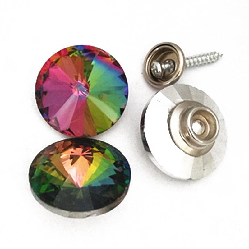 (1000 Stks/partij) 20mm Schroef Kristal Knoppen Voor Bank Bekleding Hoofdeinde Regenboog Glas Studs Perfect In Vakmanschap