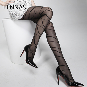 FENNASI Jacquard Spiral Striped Womens Tights Pattern Punk Gothic Sexy Pantyhose Nylons Lady Female Erotic Black