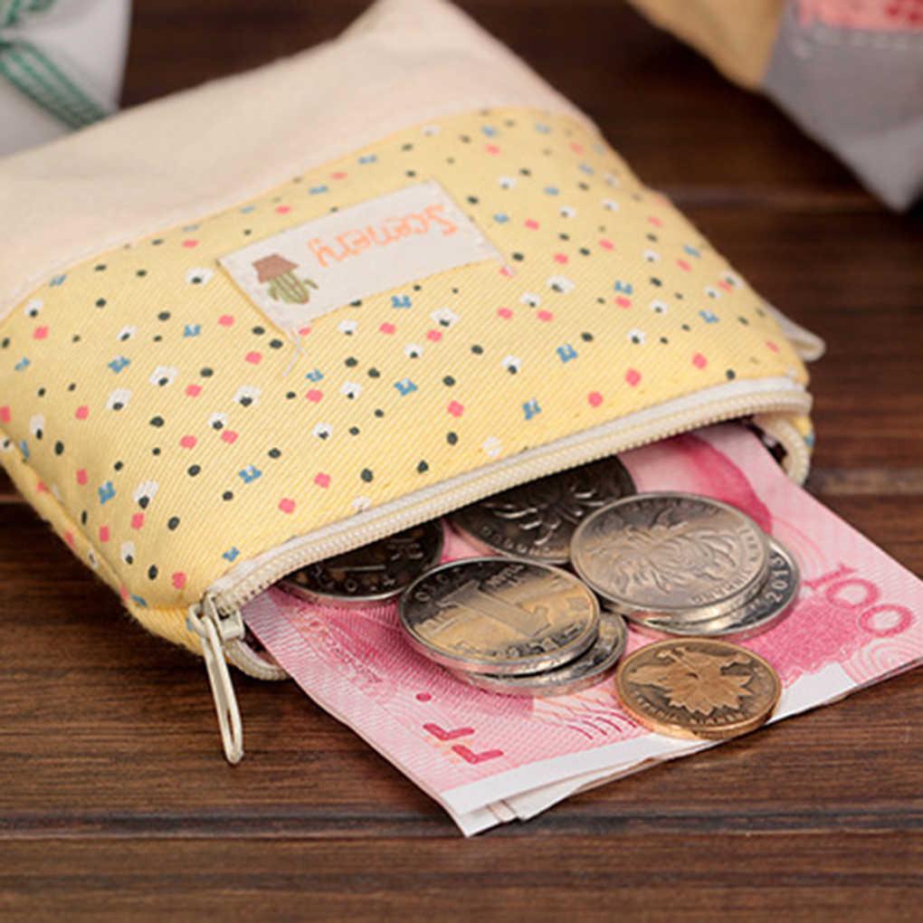 Женский холщовый кошелек на молнии для девочек, Портативный Футляр для ключей