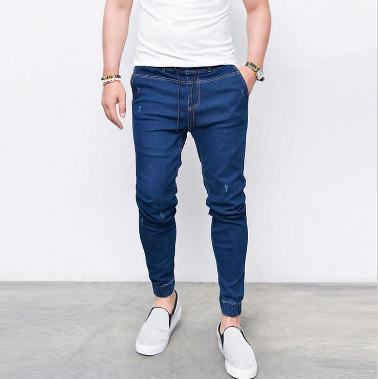 Laamei male's Casual Jeans Slim Pencil Pants Lightweiht Denim Solid Color Pleated Pants Fashion Plus Size Trousers Deep Blue