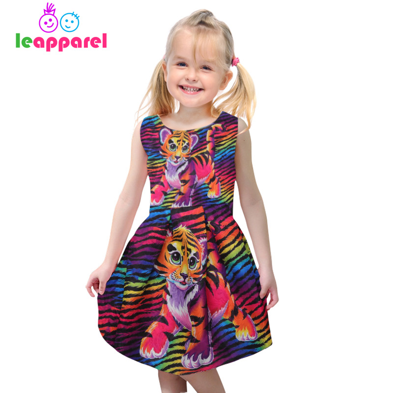 Leapparel Girls Tiger 3D Print Dress Summer Kid Cute Party Princess Colorful Striped Dresses Children Costume Sleeveless Clothes