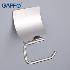 Image 2 - GAPPO kağıt tutucu banyo duvara monte tuvalet kağıdı tutucular paslanmaz çelik rulo kağıt askı kapaklı banyo aksesuarları