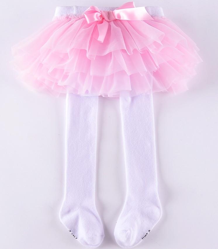 Колготки для маленьких девочек шифоновая юбка-пачка леггинсы для новорожденных фатиновая юбка - Цвет: white with pink