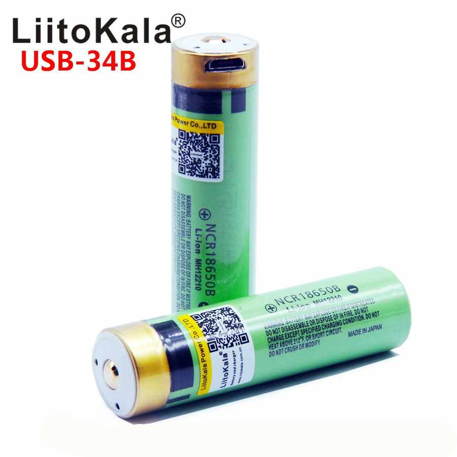 LiitoKala USB-34B 3.7 V 18650 3400 mAh Li-ion USB batterie Rechargeable avec lumière de indicateur LED DC-charge