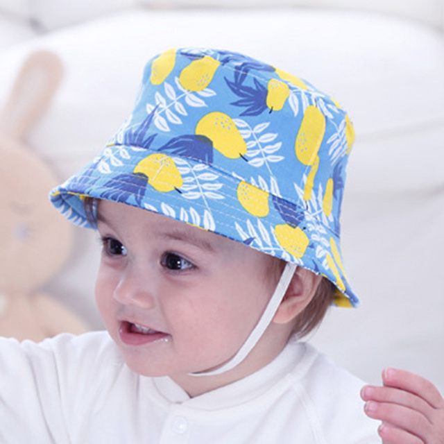 Infant Baby Pear Printed Sunbonnet Hat Summer Kids Outdoor Sunshade Bucket  Hats Children Two-sided Fisherman Beach Caps 56-60CM 3df8a009add5