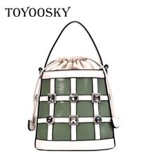 TOYOOSKY Women Bucket Bag Fashion Plaid Shoulder High Quality Diamonds Rivet Messenger Bags Female Crossbody Small Tote