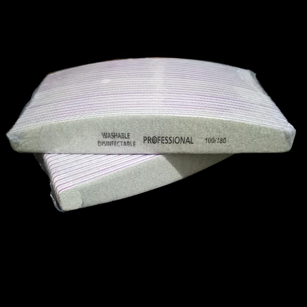 50 шт. Профессиональный 100/180 пилка для ногтей шлифовальный Полирующий буферный блок УФ-гель полировщик для педикюра и маникюра инструменты д...