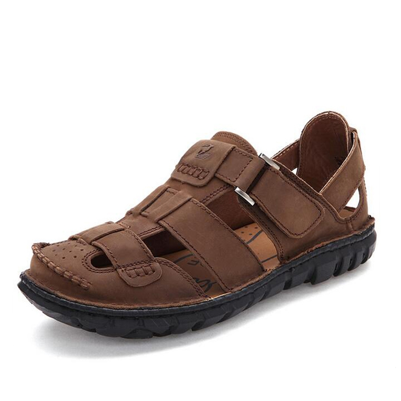 dd760c1bb Fashion Men Sandals Full Grain Leather Sandals Outdoor Shoes Casual Men  Summer Shoes Soft Bottom Beach Sandals For Man-in Men s Sandals from Shoes