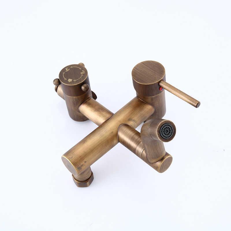 Łazienka prysznic miedzi kran ciepłej i zimnej, mosiądz przysznic do montażu na ścianie bateria natryskowa zestaw głowica prysznicowa, antyczne deszczownica kran mixer tap