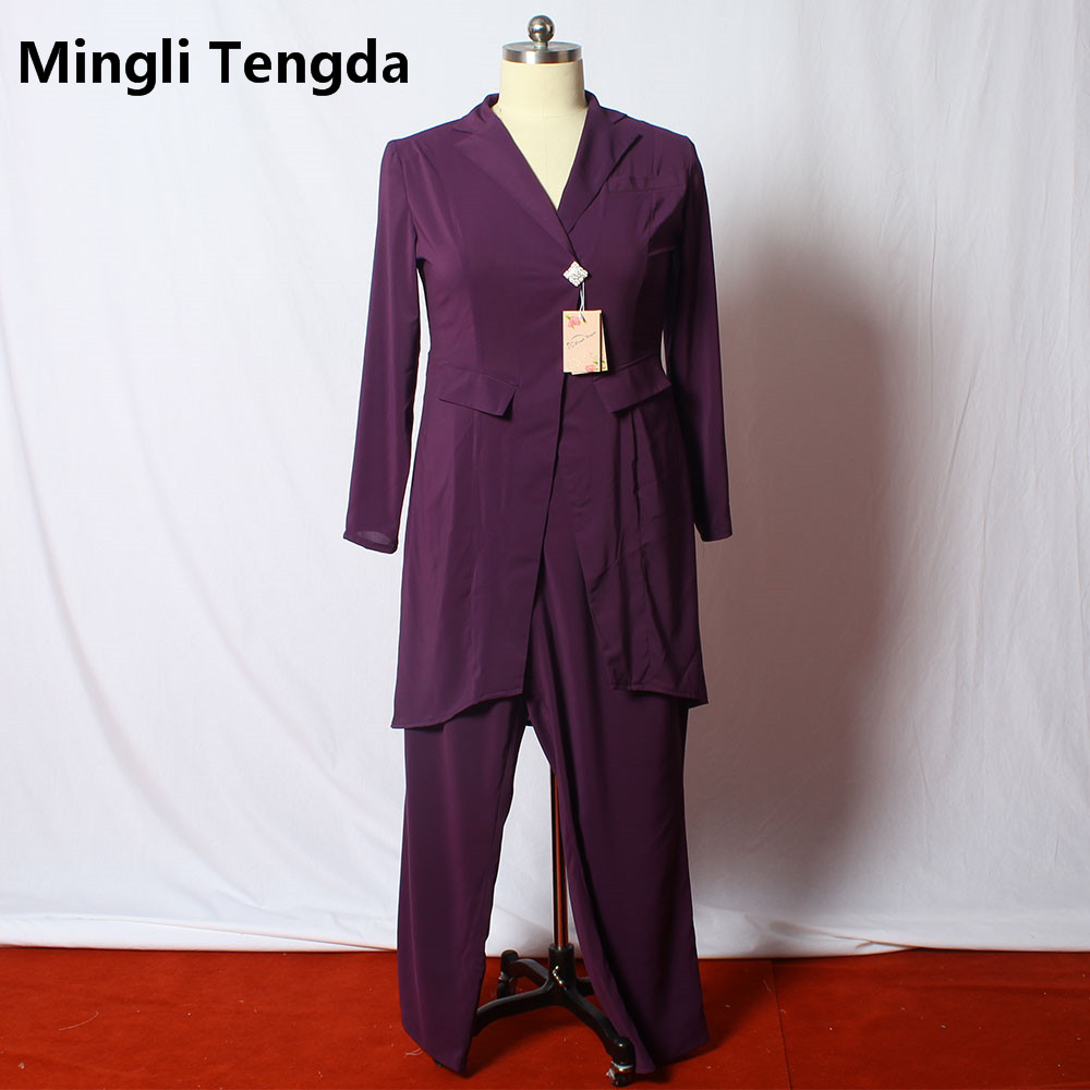 Custom Made New Chiffon Mother of the Bride Pant Suits with Long Sleeve Jacket Elegant Bridal Mother Dress Vestido Mae Da Noiva