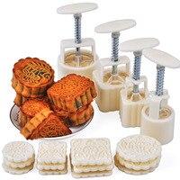 4PCS Set Hand Pressing 50g 100g Square Round Moon Cake Mold DIY Home Moon Cake Making