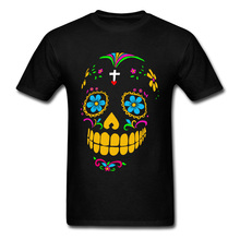 Mexican Skull Tee Men Black T-shirt Mexico Skulls Tshirts Fl