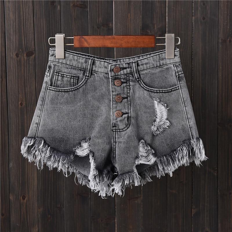 Plus Size Vintage Ripped Hole Fringe 5 Colors Denim   Shorts   Women Casual Korean Jeans   Shorts   2018 Summer Girl Hot   Shorts