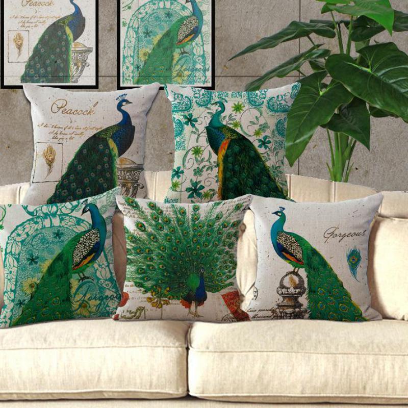 <font><b>Elegant</b></font> Green Peacock Cushions For Sofas Furnishing Style <font><b>Home</b></font> Pillow Decoration Personality Cushions <font><b>Home</b></font> <font><b>Decor</b></font>