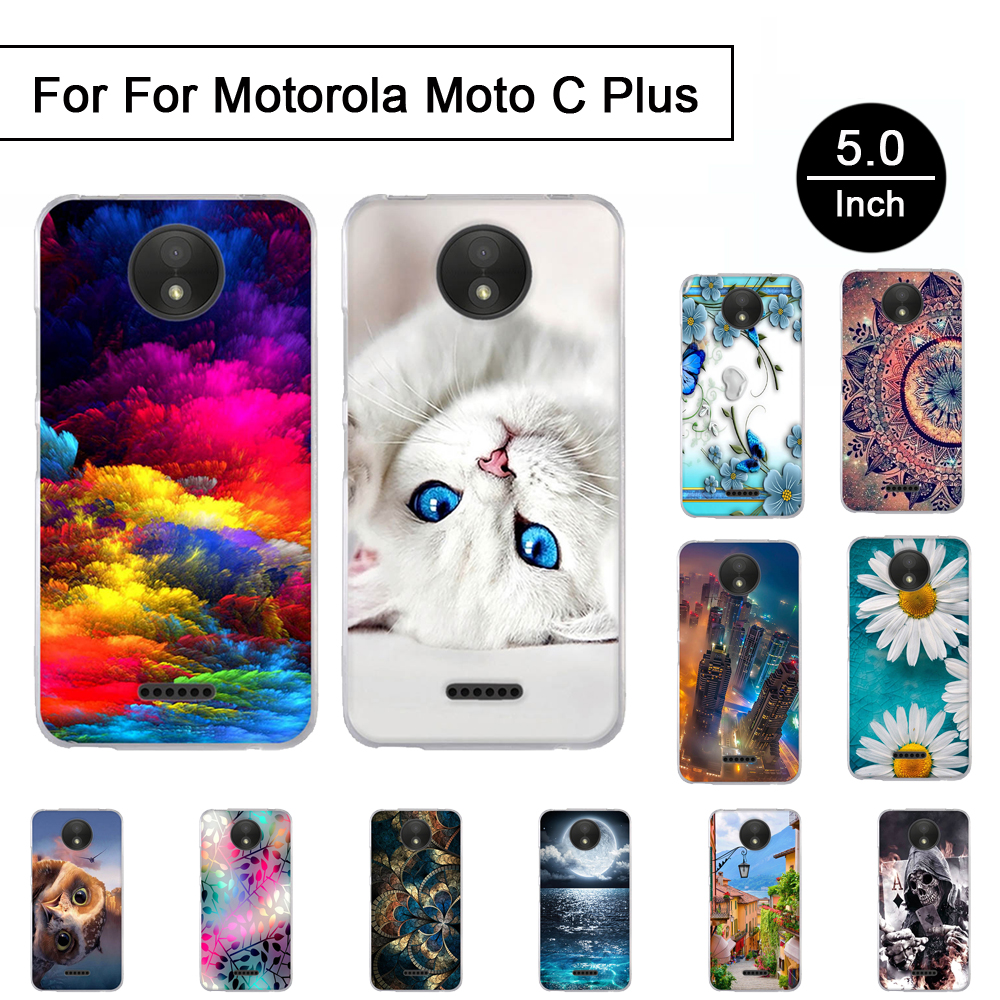 Soft Silicon Case For <font><b>Motorola</b></font> Moto C plus 5.0 inch Back <font><b>Phone</b></font> Cover Case For <font><b>Motorola</b></font> Moto C plus Cartoon Painted Pattern Shell