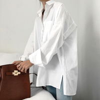 SuperAen Autumn New 2017 Women Shirt Loose Wild Pocket Solid Color Casual Ladies Shirt Long Sleeve Cotton Blouse for Women Tops
